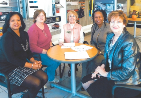 Discussing plans for the Women's Business Expo  l to r: ABWA President Rita Johnson, Marcia Collins, Bonnie Pfrogner, Kenda Woodard, and Wanda Cronic Howell.