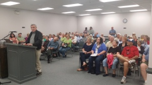 Room 108 of the Spalding County Annex is packed with standing room only with more than 70 people who have turned out for a Board of Commissioner's sanitation, SPLOST public hearing. Photo credit: Sheila Mathews