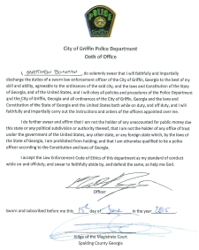 After informing Jessica Lester that her ex-husband, former GPD officer Matthew Boynton, would not be tried on a felony charge of violating his oath of office because the oath could not be located by that same agency, The GRIP obtained a copy through the submission of an Open Records request to Spalding County Magistrate Court, where the oath of office is administered to new GPD officers. Photo credit: The GRIP